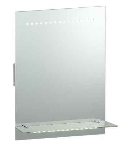 LED Mirrored glass & matt silver effect paint IP44 Bathroom Mirror Light + Shaver Socket 39237
